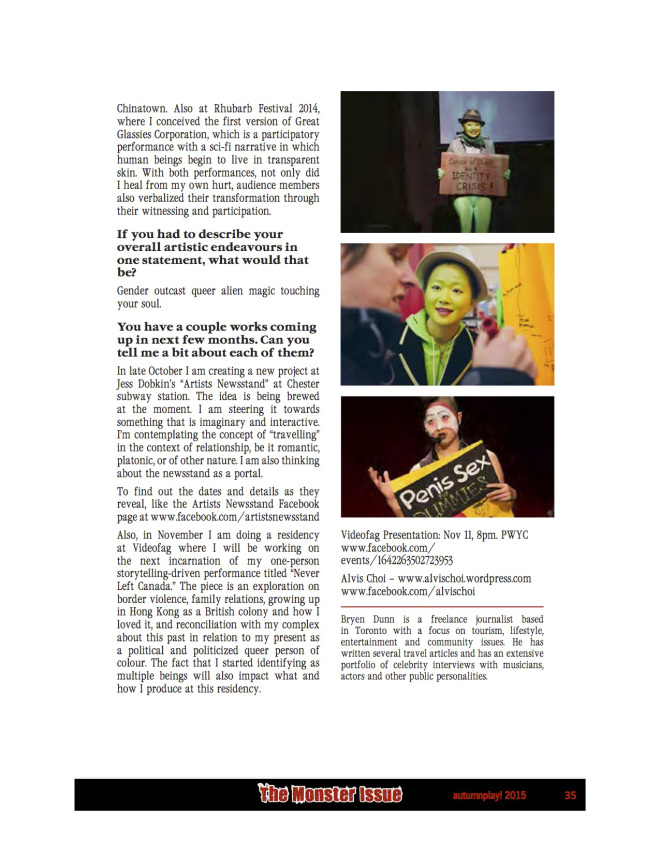 Pink Play Mags - autumnplay! The MONSTER Issue – Part 2, Autumn 2015, p.35 Photo credits: Henry Chan, Tony Wei-Han Chen, Kat Rizza, Julio Pantoja
